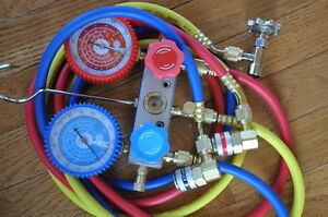 Hvac Kit manifold Gauge 5ft Hose Set R22 car Quick Snap on Coupler r134a Can Tap