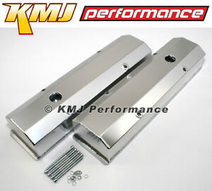New Sbc Chevy 350 Clear Anodized Fabricated Welded Tall Aluminum Valve Covers
