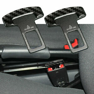 Carbon Fiber Seat Belt Buckle Safety Insert Alarm Stopper Eliminator Universal