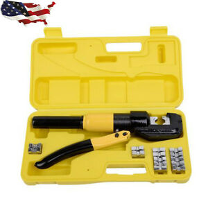 8 Ton Hydraulic Wire Terminal Crimper Battery Cable Lug Crimping Tool W dies New