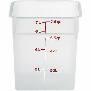 Cambro 8 Qt Translucent Camsquare Food Storage Containers 6pk Translucent