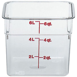 Cambro 6 Qt Camsquare Food Storage Containers 6pk Clear 6sfscw 135