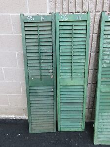 Pair C1900 Antique Victorian Louvered House Window Shutters Green 58 H X 14 B