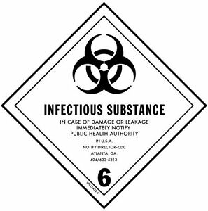 Infectious Substance Hazard Class 6 D o t Shipping Labels 4 X 4 Roll Of 500