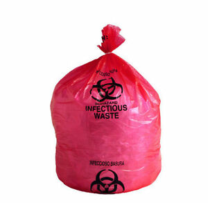 Infectious Biohazard Printed Red Poly Medical Waste Bags 24 X 23 8 10 Gall