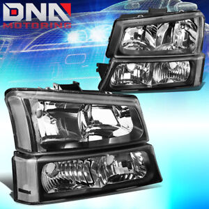 For Chevy Silverado 2003 2006 Euro Black Housing Clear Corner bumper Headlights