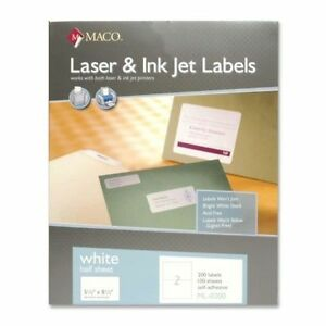 Maco Laser ink Jet White Return Address Labels 1 2 X 1 3 4 Inches Ml8100 5boxs