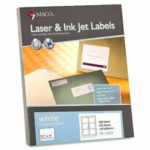 Maco Shipping Labels 3 1 3 x4 600 bx White Sold As 5 Box Mac Ml0600