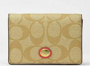 Nwt Coach Peyton Coated Canvas Khaki Signature Business Card Case Holder Wallet