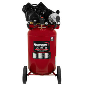 Powermate 1 6 Hp 30 Gallon Oil lube Vertical Air Compressor Pla1683066 New