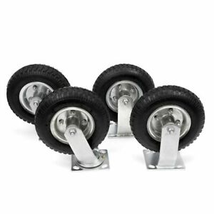 4 Pcs 8 Air Tire Pneumatic 2 Rigid Wheels 2 Swivel Casters Cart Farm Caster