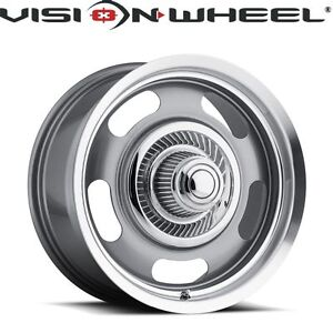 Vision 15x7 Rally 5x120 65 6mm Silver Paint Wheels Rims Set