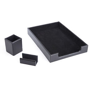 royce Desk Organizer Letter Tray And Business Card Holder Genuine Suede