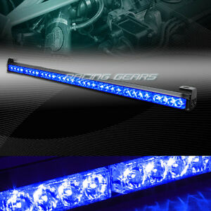 35 5 Blue Led Traffic Advisor Emergency Warn Flash Strobe Light Bar Universal 7