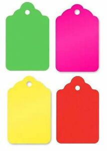 5 Fluorescent Colors Merchandise Tags Holes No Strings 1 3 4 X 1 1 8