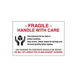 tape Logic Labels fragile Handle With Care 4 X 6 500 roll