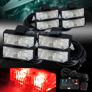 16 Led Red Car Deck Dash Grille Emergency Warning Flash Strobe Lights Universal