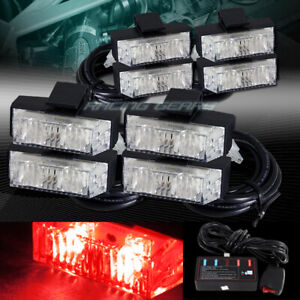 16 Led Red Car Deck Dash Grille Emergency Warning Flash Strobe Lights Universal Fits More Than One Vehicle