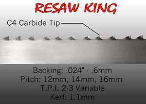 3 4 X 12 14 16mm Vari Tooth Pitch X 111 Resaw King Carbide Tip Bandsaw Blade