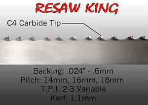 1 X 12 14 16mm Vari Tooth Pitch X 186 Resaw King Carbide Tipped Bandsaw Blade