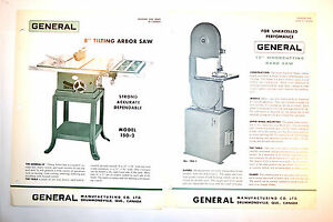 2 Vintage General Canada 8 Table Saw 15 Wood Cutting Band Saw Rr624 Brochure