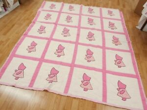 Vintage Antique 1930s Feed Sack Pink Sunbonnet Sue Feed Sack Full Quilt 84x69