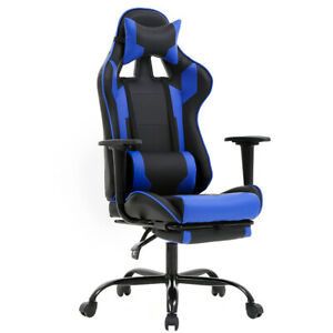 Blue Office Chair High Back Computer Racing Gaming Chair Ergonomic Chair