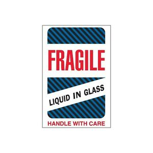 tape Logic Labels fragile Liquid In Glass 4 X 6 500 roll