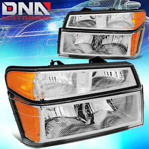 For 2004 2012 Chevy Colorado Gmc Canyon Pair Bumper Headlight Lamps Chrome Amber