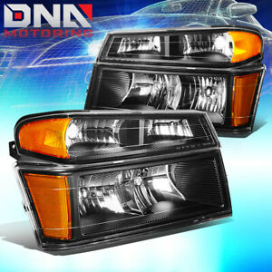 For 2004 2012 Chevy Colorado Gmc Canyon Pair Headlight Bumper Lamps Black Amber