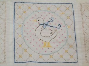 Vintage Antique Hand Embroidered Ducks Tulips Queen Quilt 96x81