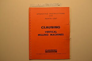j104 Clausing Vertical Milling Machines Operating Instructions