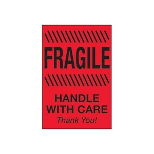 tape Logic Labels fragile Handle With Care 4 x6 Fluorescent Red 500 ro
