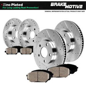 Front Rear Drill Slot Brake Rotors Ceramic Pads Fit Hyundai Sonata Kia Optima