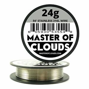 Ss 316l 50 Ft 24 Gauge Awg Stainless Steel Resistance Wire 0 51 Mm 24g 50