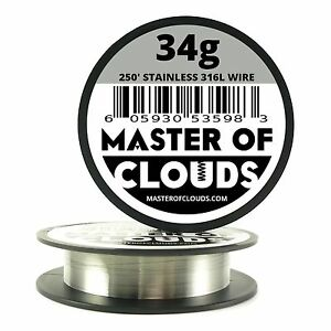Ss 316l 250 Ft 34 Gauge Awg Stainless Steel Resistance Wire 0 16 Mm 34g 250