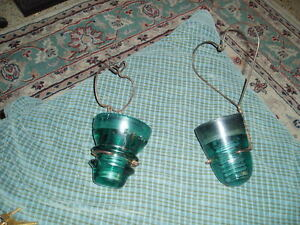 Vintage Glass Insulator Wire Apple Heart Wall Sconce Candle Holder Set Of 2
