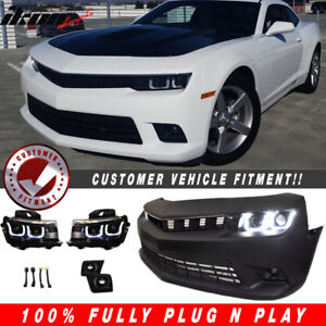 Fits 10 13 Chevy Camaro To 14 Ss Front Bumper W foglight Black Housing Headlight