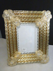 New Venetian Florentine Italy Picture Frame Glass Gold Clear Murano Venice