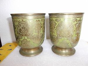 Antique Pair Of Brass Goblets Cups Green Enamel Marked H V India 4 3 8 H