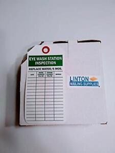 Eye Wash Station Inspection Tag With Fiber Patch Polyolefin Tag 100 Tags Box