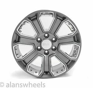 4 New Gmc Sierra Yukon Denali Gun Metal Chrome Inserts 20 Wheels Rims Lugs 5660
