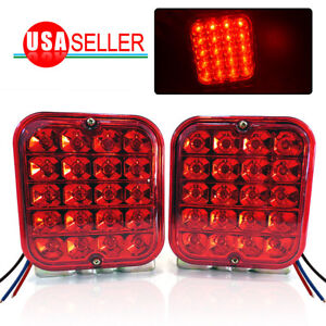 2x 4 5 Led Trailer Tail Light Kit Brake Back Up Reverse Utility Rv Boat Truck