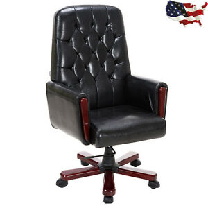 High Back Pu Leather Deluxe Guest Office Accent Chair Modern Furniture Black
