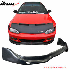 Fits 92 95 Civic Jdm Jun Style Front Bumper Lip Unpainted Black Poly Urethane