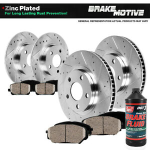 Front rear Drilled Slotted Brake Rotors ceramic Pads For 2012 2013 2014 Impreza