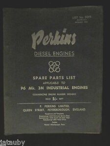 Vintage 1958 Original Perkins Diesel Engines Parts List No 3019 Catalog England