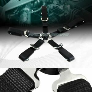 Universal Jdm 2 Black Durable Nylon 5 Point Cam Lock Safety Harness Seat Belt
