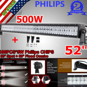 500w Philips 52 Inch Led Light Bar Combo Spot Flood Work Driving Offroad Bar 4wd