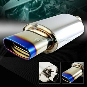 5 5 Euro Oval Burnt Tip T 304 Stainless Exhaust Muffler 2 5 Inlet Universal 4